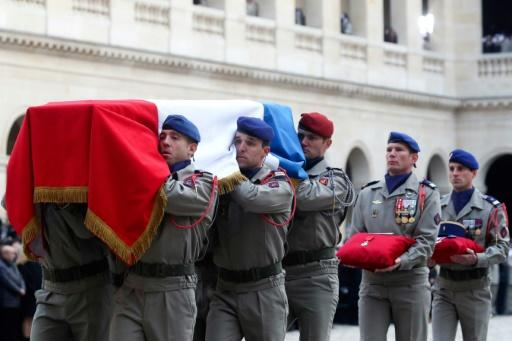 France's highest award, the l'legion d'Honneur was placed on each of the coffins