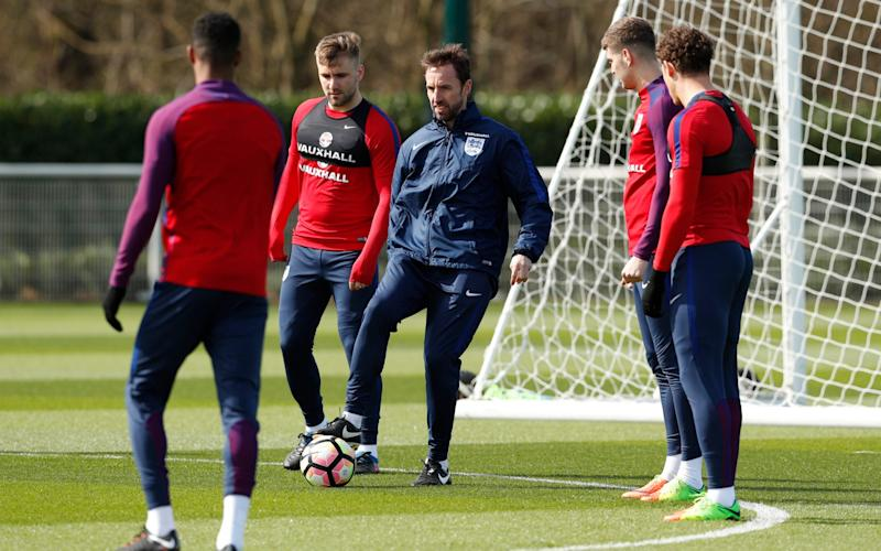 Gareth Southgate training - Credit: Reuters
