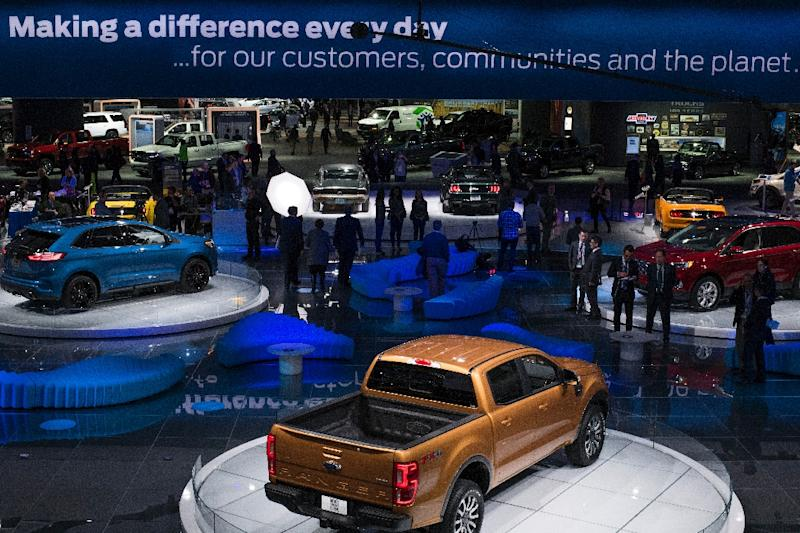 Revamps of tried-and-true models, especially pickups and SUVs popular among American drivers, feature prominently at the Detroit Auto Show (AFP Photo/Jewel SAMAD)