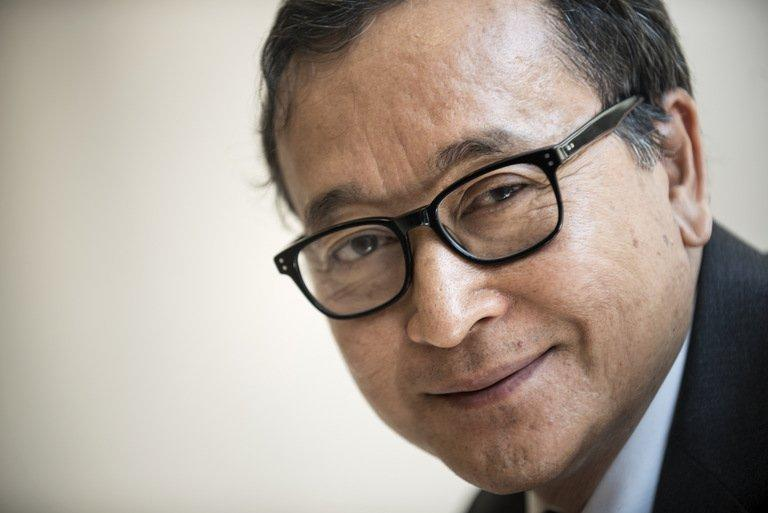 Cambodia's opposition leader Sam Rainsy poses for a portrait on May 9, 2013 during a visit to Washington, DC