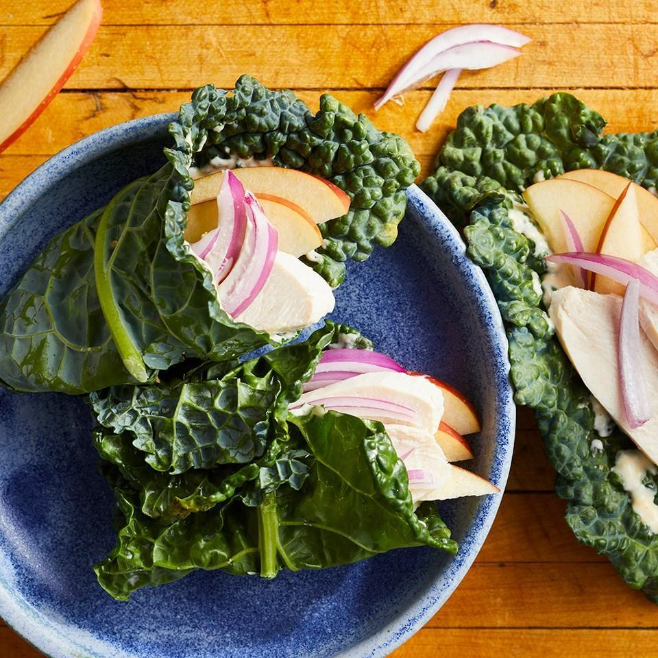 <p>Using kale leaves instead of bread to wrap your filling makes this healthy chicken lunch recipe low-calorie (and lower in carbs!). If you can't find lacinato (aka Tuscan) kale, try cabbage for your wrap.</p>