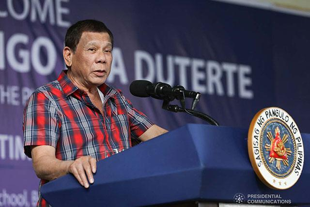 President Rodrigo Roa Duterte delivers a speech during his visit to the earthquake victims at the M'lang National High School in Cotabato on December 30, 2019. TOTO LOZANO/PRESIDENTIAL PHOTO