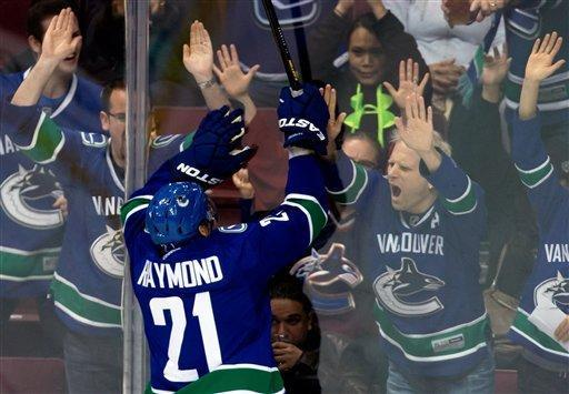 Vancouver Canucks' Mason Raymond celebrates his goal against the Los Angeles Kings during the second period of an NHL hockey game in Vancouver, British Columbia on Saturday, March 2, 2013. (AP Photo/The Canadian Press, Darryl Dyck)
