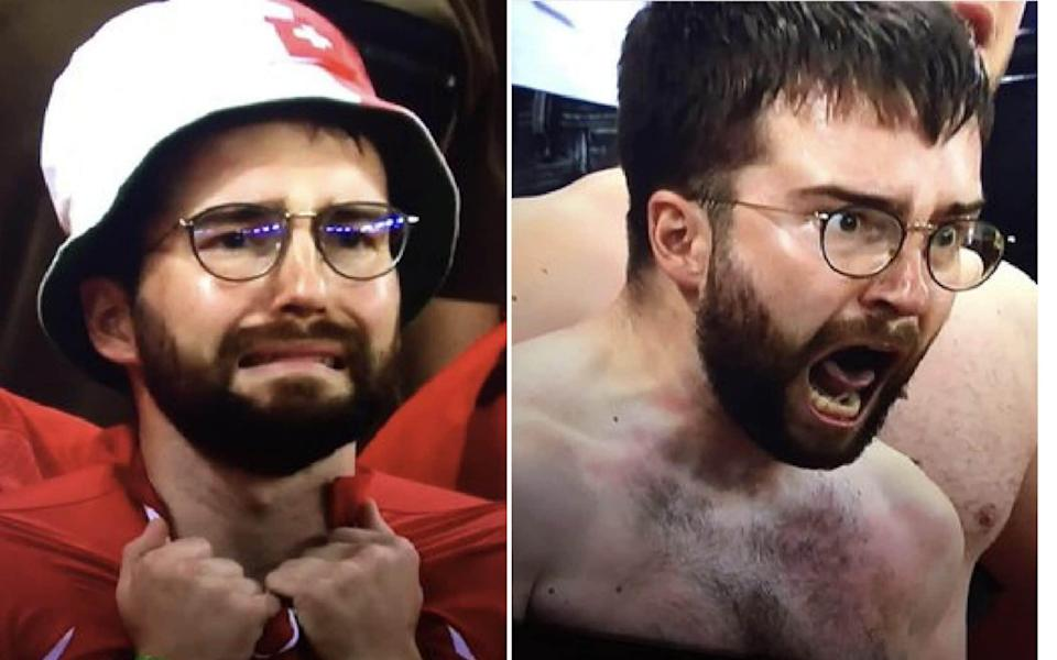 Swiss fan reacts to their victory over France