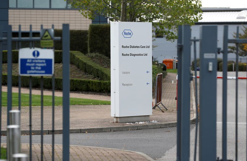 FILE PHOTO: A diagnostics site for Swiss pharmaceutical giant Roche is seen as the company said problems at a new warehouse delayed the dispatch of some products