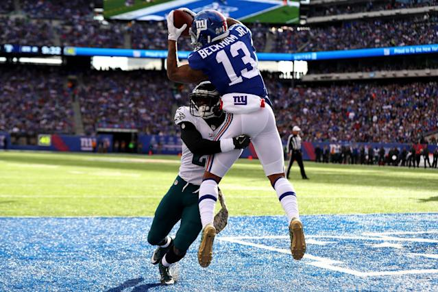 <p>Odell Beckham Jr. #13 of the New York Giants catches a touchdown pass thrown by Eli Manning #10 against the Philadelphia Eagles during the second quarter of the game at MetLife Stadium on November 6, 2016 in East Rutherford, New Jersey. (Photo by Al Bello/Getty Images) </p>