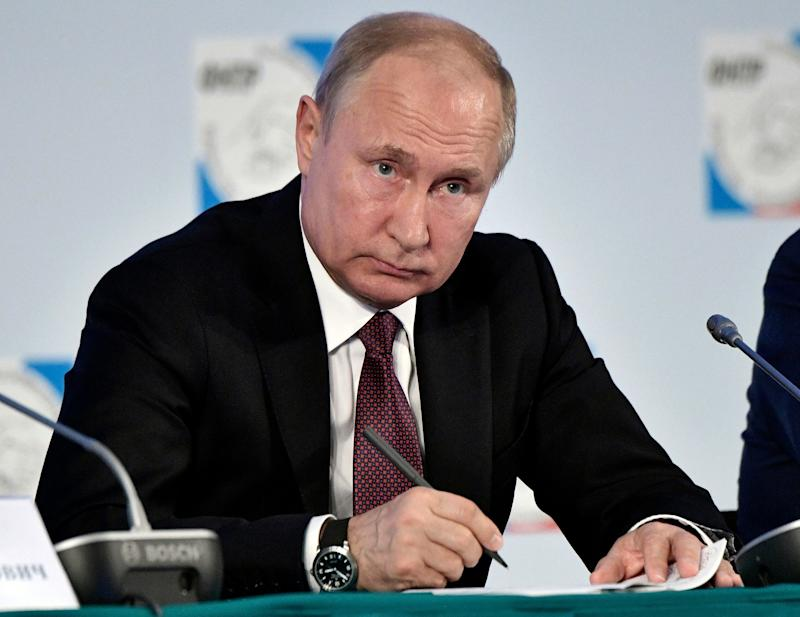 Russian President Vladimir Putin attends the Independent Trade Union Federation congress in Moscow, Russia, Wednesday, May 22, 2019. Putin emphasized the need for a more active dialogue between trade unions and business in dealing with social issues. (Alexei Nikolsky, Sputnik, Kremlin Pool Photo via AP)