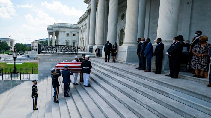 The casket carrying Congressman John Lewis arrives on the East Front of the US Capitol