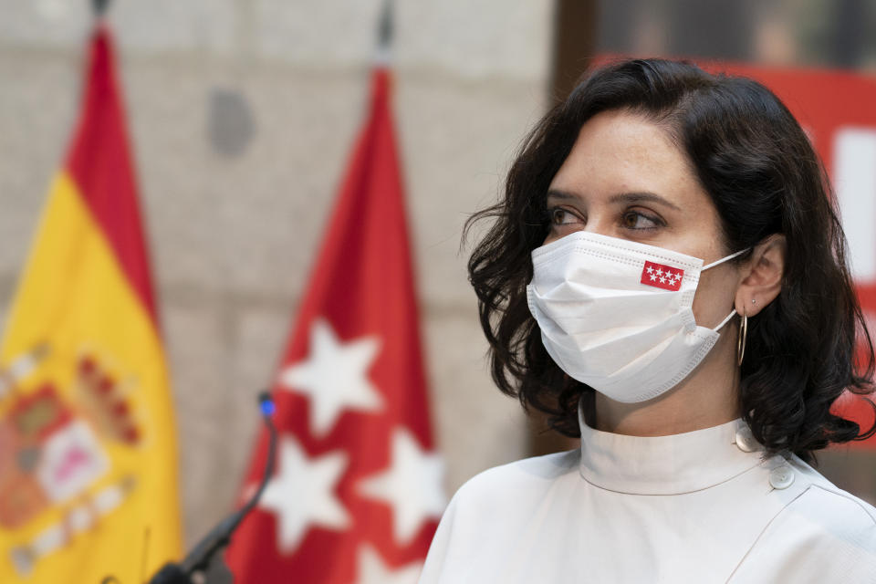 the president of the Community of Madrid, Isabel Díaz Ayuso, during the presentation of the Region's Emergency Civil Protection Plan for Forest Fires (INFOMA Plan) 2021 at the Royal Post Office, on June 22, 2021, in Madrid, Spain. (Photo by Oscar Gonzalez/NurPhoto via Getty Images)