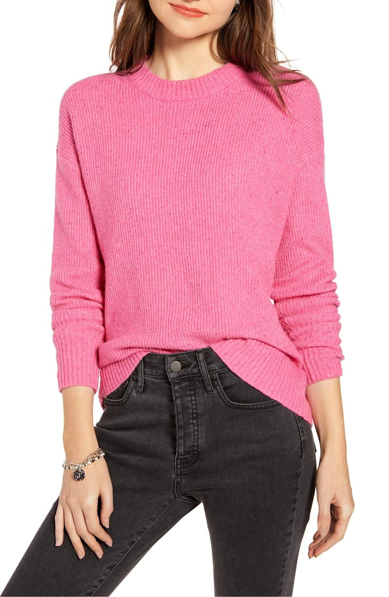 Something Navy Flecked Crewneck Sweater. Image via Nordstrom.