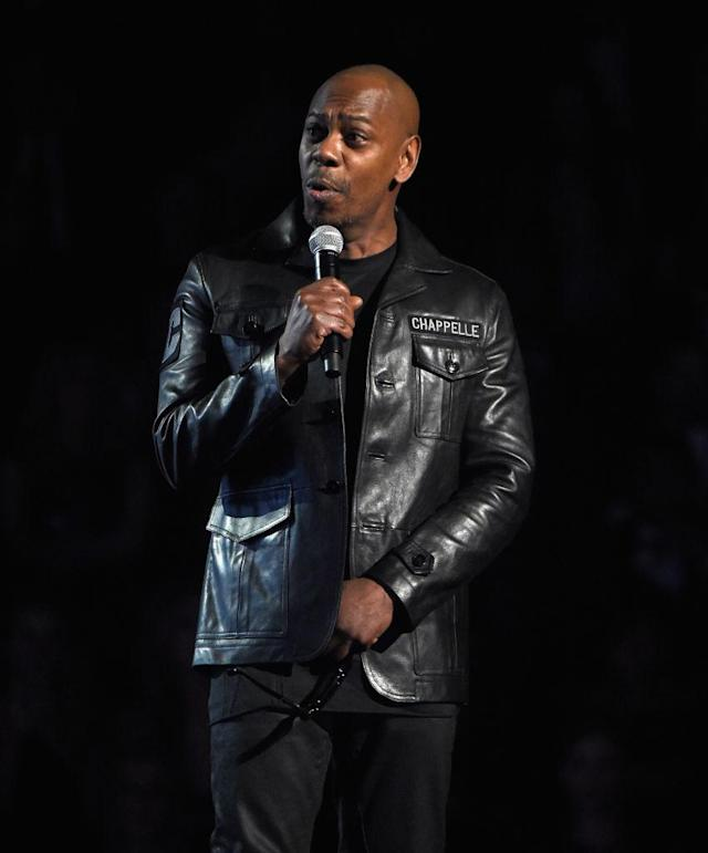 Comedian Dave Chappelle onstage at the Grammy Awards on Jan. 28. (Photo: Kevin Mazur/Getty Images for NARAS)