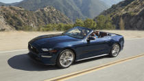 This photo provided by Ford shows the Ford Mustang convertible, a high-octane pony car. Its four-seat configuration makes it more practical than many rivals. (Courtesy of Ford Motor Co. via AP)