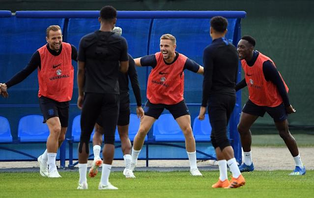 England captain Harry Kane (L), who is yet to score a goal in a tournament, has vowed an aggressive approach against opponents expected to defend in numbers (AFP Photo/PAUL ELLIS)