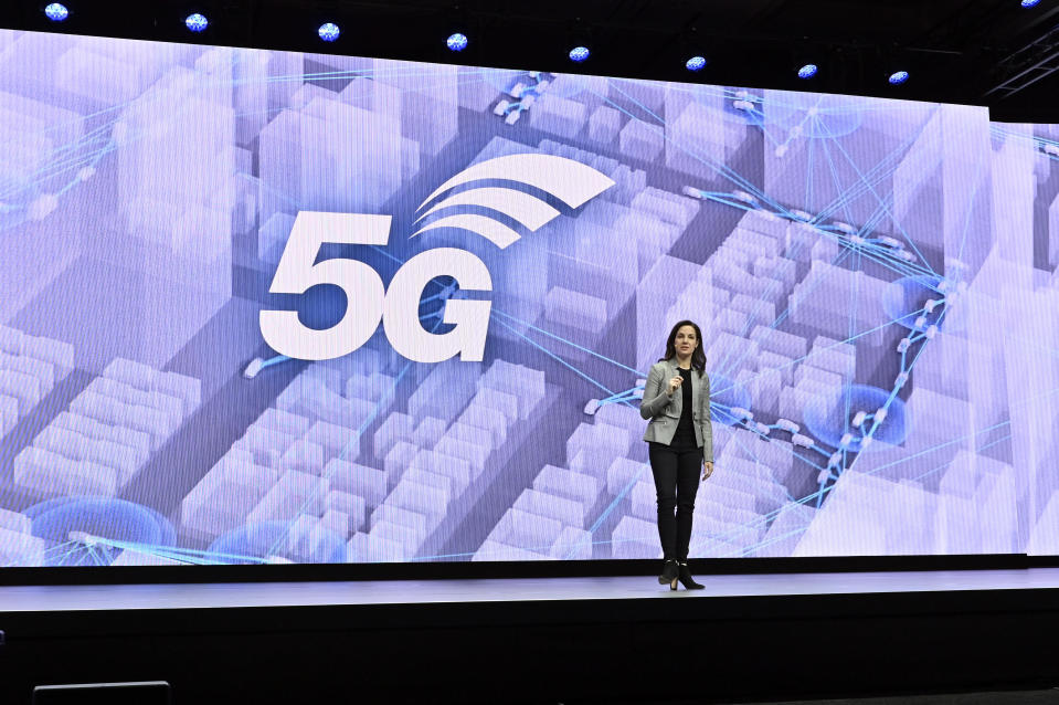 Head of Samsung Next Global, Senior Vice President Emily Becher speaks during a Samsung press event for CES 2020 at the Mandalay Bay Convention Center on January 6, 2020 in Las Vegas, Nevada. / Credit: David Becker  / Getty Images