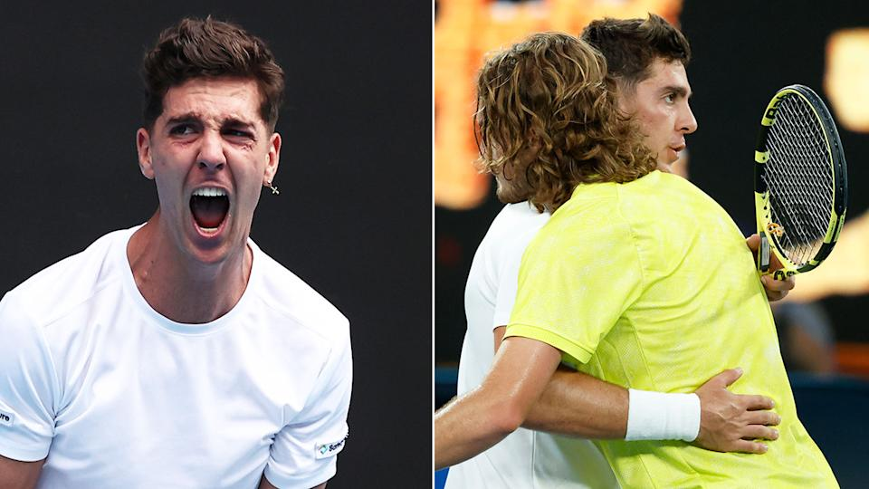 Pictured here, the highs and lows for Thanasi Kokkinakis on display against Stefanos Tsitsipas.