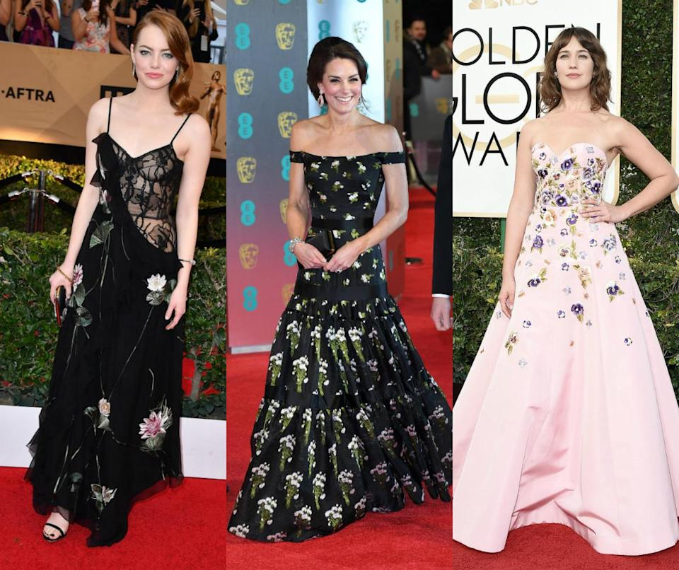 <p>We are pretty certain we will be seeing a lot more floral adorned numbers after the Duchess of Cambridge donned a stunning Alexander McQueen gown at the Bafta's. [Photo: Getty] </p>