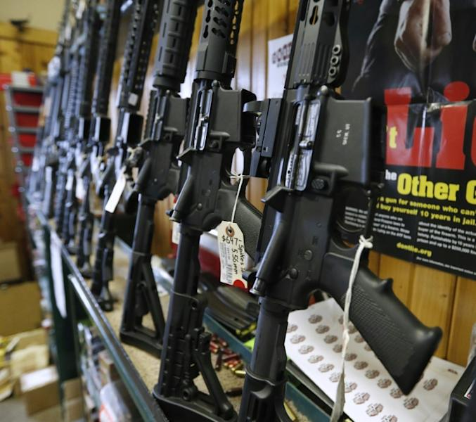 Semi-automatic AR-15 assault rifles on sale in a Utah gun shop