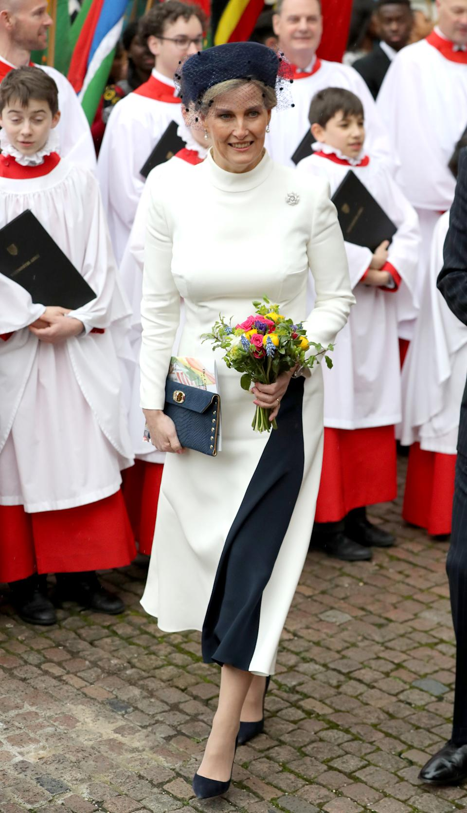 LONDON, ENGLAND - MARCH 09: Sophie, Countess of Wessex departs the Commonwealth Day Service 2020 at Westminster Abbey on March 09, 2020 in London, England. The Commonwealth represents 2.4 billion people and 54 countries, working in collaboration towards shared economic, environmental, social and democratic goals. (Photo by Chris Jackson/Getty Images)