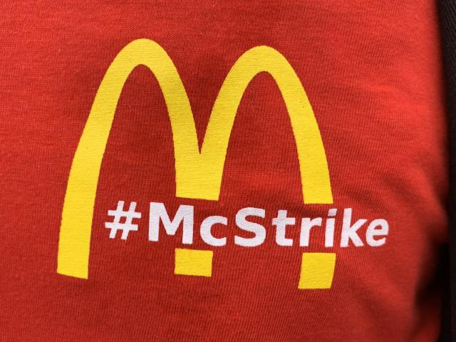 A group of McDonalds workers went on strike. Photo: Yahoo Finance UK / Tom Belger