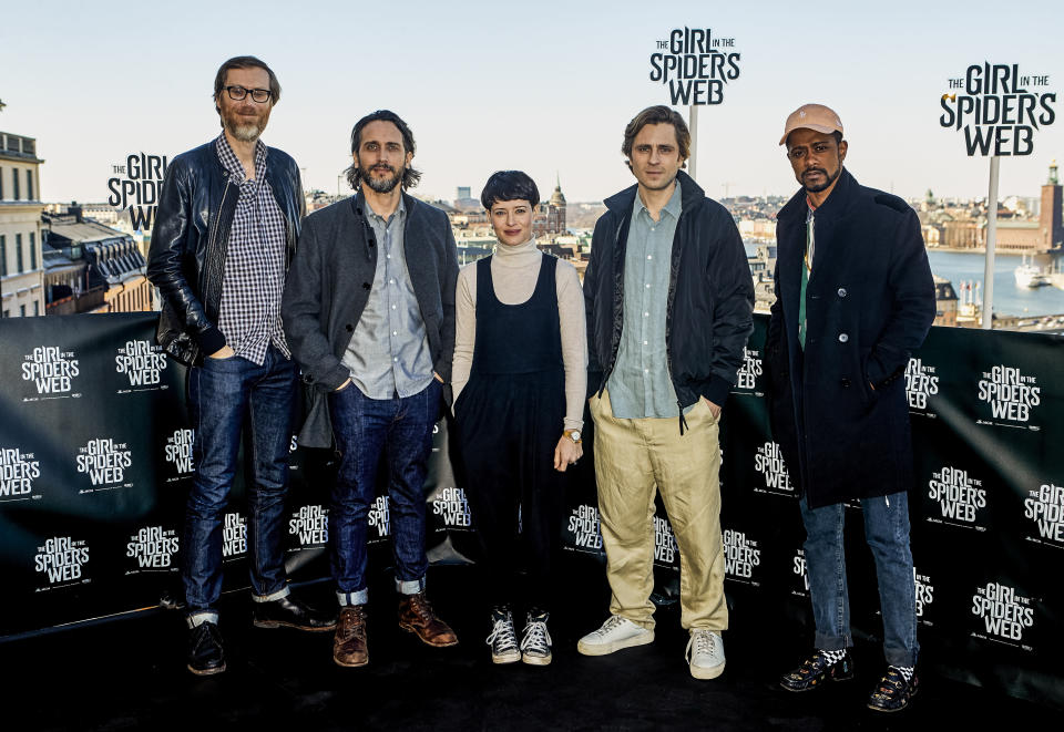 Director Fede Alvarez with Claire Foy, Sverrir Gudnason, Lakeith Stanfield, and Stephen Merchant