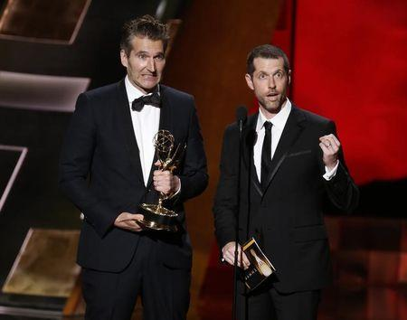 """Benioff and Weiss accept the award for Outstanding Writing For A Drama Series for HBO's """"Game of Thrones"""" at the 67th Primetime Emmy Awards in Los Angeles"""
