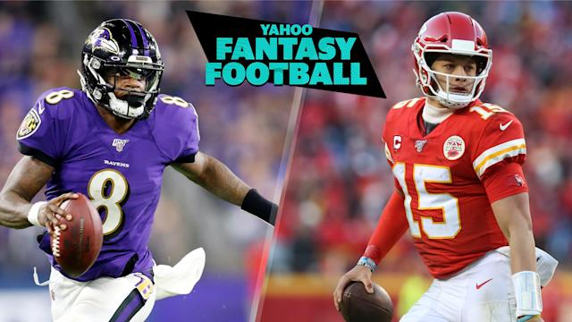 Lamar Jackson and Patrick Mahomes are the consensus top 2 QBs in early 2020 fantasy rankings, but in what order? (Photos L to R by: Maddie Meyer/Getty Images; Scott Winters/Icon Sportswire via Getty Images)