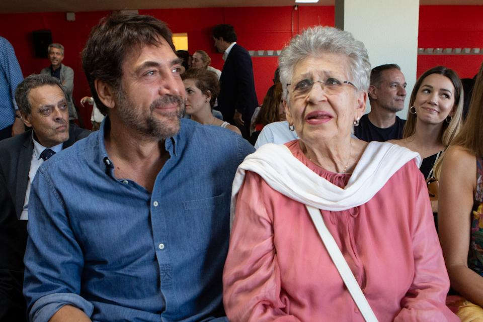MADRID, SPAIN - MAY 30: Actor Javier Bardem and his mother the actress Pilar Bardem attend the presentation of the book 'Mongo Blanco' written by Carlos Bardem at Circulo de Bellas Artes on May 30, 2019 in Madrid, Spain. (Photo by Pablo Cuadra/Getty Images)