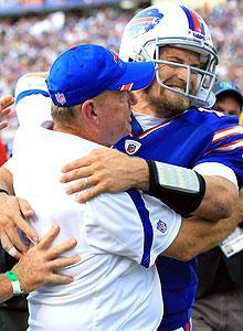 Ryan Fitzpatrick celebrates with Chan Gailey as the Bills improved to 3-0