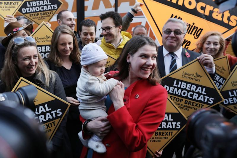 Jo Swinson at a Lib Dem election campaign event in Golders Green (Getty Images)