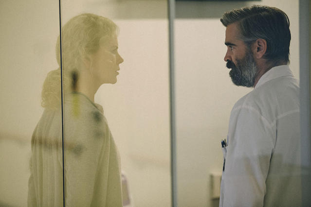 """<p><a href=""""https://www.yahoo.com/movies/tagged/colin-farrell"""" data-ylk=""""slk:Colin Farrell"""" class=""""link rapid-noclick-resp"""">Colin Farrell</a> teams up again with <a href=""""https://www.yahoo.com/movies/film/the-lobster"""" data-ylk=""""slk:The Lobster"""" class=""""link rapid-noclick-resp""""><em>The Lobster</em></a> director <a href=""""https://www.yahoo.com/movies/tagged/yorgos-lanthimos"""" data-ylk=""""slk:Yorgos Lanthimos"""" class=""""link rapid-noclick-resp"""">Yorgos Lanthimos</a> for this deranged thriller in which he plays a surgeon, married to <a href=""""https://www.yahoo.com/movies/tagged/nicole-kidman"""" data-ylk=""""slk:Nicole Kidman"""" class=""""link rapid-noclick-resp"""">Nicole Kidman</a>, who finds his life upended by a strange teenager (<a href=""""https://www.yahoo.com/movies/tagged/barry-keoghan"""" data-ylk=""""slk:Barry Keoghan"""" class=""""link rapid-noclick-resp"""">Barry Keoghan</a>). 