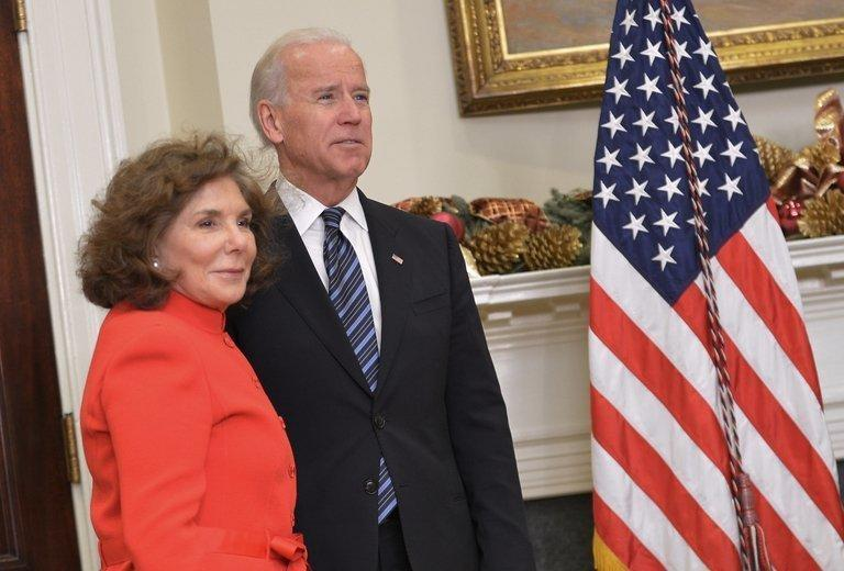 Teresa Heinz Kerry, wife of Senator John Kerry, and US Vice President Joe Biden wait for President Barack Obama to speak in the White House on December 21, 2012. Obama on Friday nominated Senator Kerry as his new secretary of state, as he began to reshape his national security team for a second term clouded by overseas crises