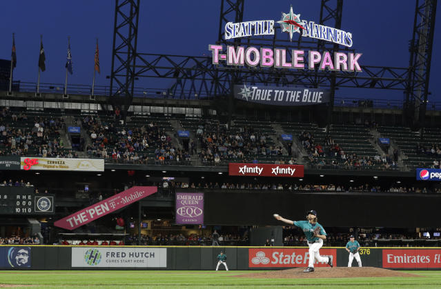 Seattle Mariners starting pitcher Mike Leake throws to a Los Angeles Angels batter during the eighth inning of a baseball game Friday, July 19, 2019, in Seattle. (AP Photo/Ted S. Warren)