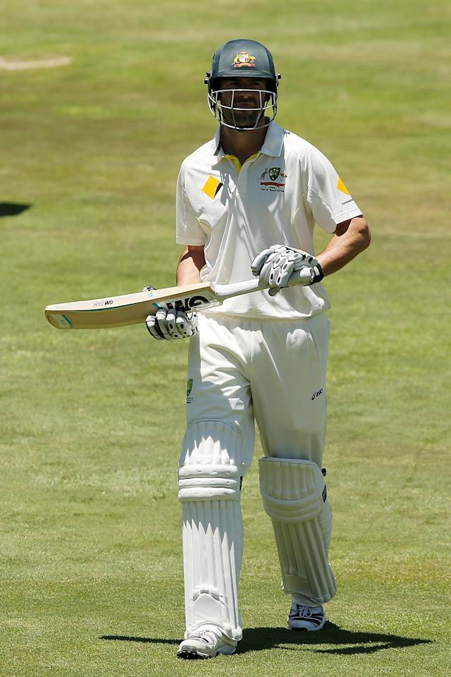 CENTURION, SOUTH AFRICA - FEBRUARY 12: Alex Doolan of Australia leaves the field after getting out during day one of the First Test match between South Africa and Australia on February 12, 2014 in Centurion, South Africa. (Photo by Morne de Klerk/Getty Images)