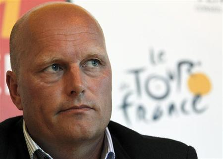 Saxo Bank-SunGard team manager Bjarne Riis of Denmark attends a news conference at the Tour de France media centre in Les Herbiers June 30, 2011. REUTERS/Pascal Rossignol