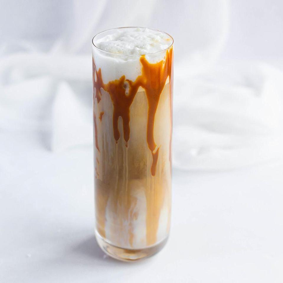 """<p><a href=""""https://www.delish.com/uk/cocktails-drinks/g36105593/starbucks-drinks/"""" rel=""""nofollow noopener"""" target=""""_blank"""" data-ylk=""""slk:Starbucks"""" class=""""link rapid-noclick-resp"""">Starbucks</a> fans, listen up. If you want your iced <a href=""""https://www.delish.com/uk/cooking/recipes/g28842354/salted-caramel-desserts/"""" rel=""""nofollow noopener"""" target=""""_blank"""" data-ylk=""""slk:caramel"""" class=""""link rapid-noclick-resp"""">caramel</a> macchiato fix at home, our recipe is seriously tasty. </p><p>Get the <a href=""""https://www.delish.com/uk/cocktails-drinks/a36978116/iced-caramel-macchiato/"""" rel=""""nofollow noopener"""" target=""""_blank"""" data-ylk=""""slk:Iced Caramel Macchiato"""" class=""""link rapid-noclick-resp"""">Iced Caramel Macchiato</a> recipe.</p>"""
