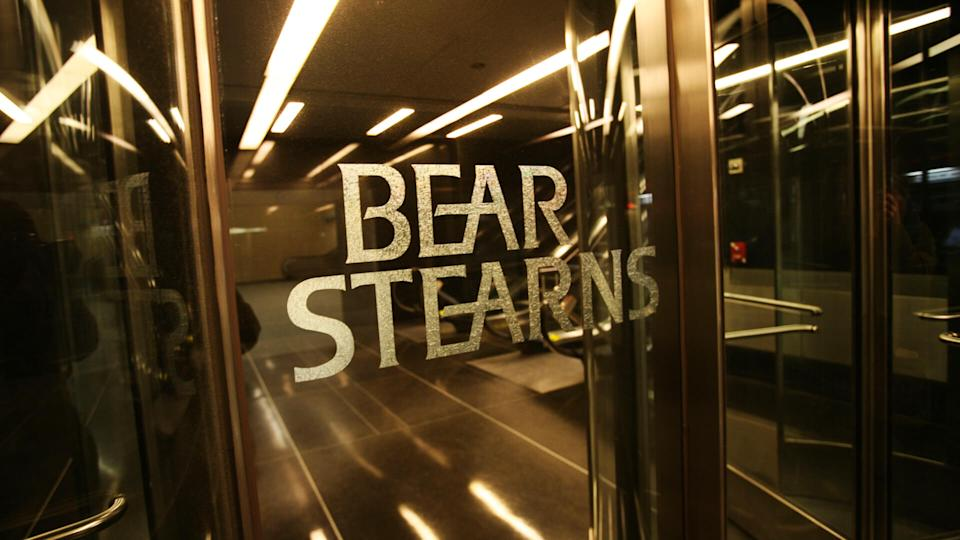An entrance to Bear Stearns is shown on in New York.