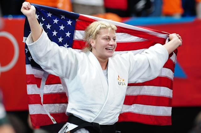 LONDON, ENGLAND - AUGUST 02: Gold medalist Kayla Harrison of the United States in the Women's -78 kg Judo on Day 6 of the London 2012 Olympic Games at ExCeL on August 2, 2012 in London, England. (Photo by Laurence Griffiths/Getty Images)
