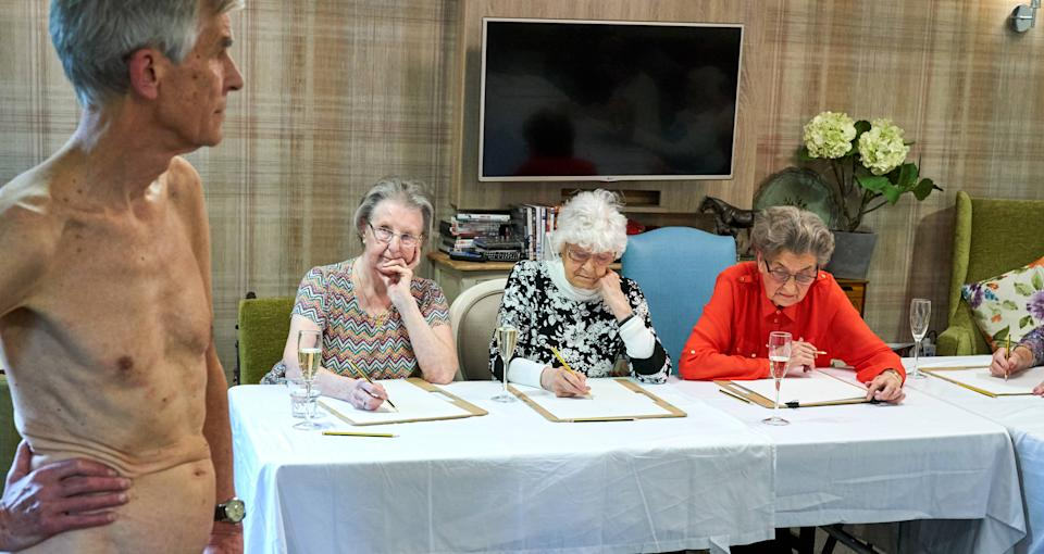 Residents at Care UK's Sherwood Grange care home take part in a nude life drawing class.[Photo: Simon Jacobs]