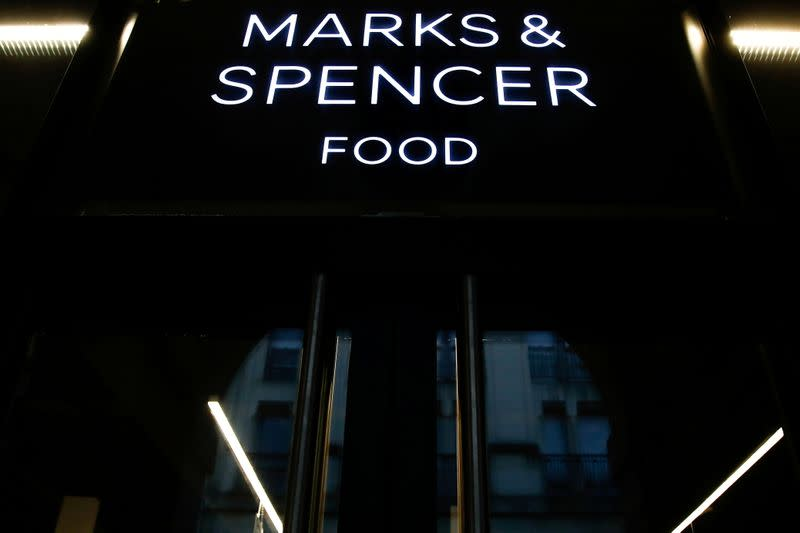 FILE PHOTO: Logo at a Marks and Spencer food store in Paris