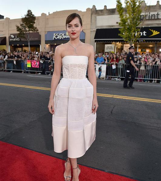 "<p>BOSTON, MA - SEPTEMBER 15: Actress Dakota Johnson attends the ""Black Mass"" Boston special screening at the Coolidge Corner Theatre on September 15, 2015 in Boston, Massachusetts. (Photo by Paul Marotta/Getty Images for Warner Brothers)</p>"