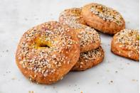 """<p>You might think that a bagel, the carbiest of carbs, could never be made keto. Well you thought wrong! </p><p>Get the recipe from <a href=""""https://www.delish.com/cooking/recipe-ideas/a25335574/keto-bagels-recipe/"""" rel=""""nofollow noopener"""" target=""""_blank"""" data-ylk=""""slk:Delish"""" class=""""link rapid-noclick-resp"""">Delish</a>.</p>"""