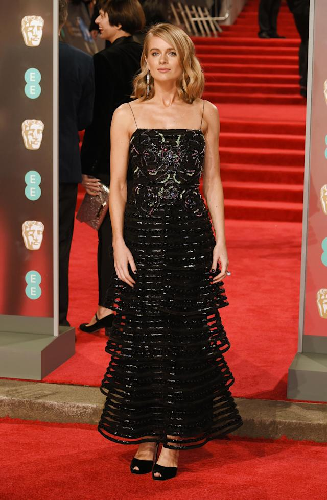 <p>Prince Harry's ex opted for a tiered dress. <em>[Photo: Getty]</em> </p>