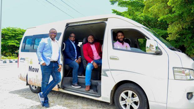 The founders of Nigeria's bus-hailing startup Plentywaka are pictured.