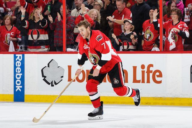 """OTTAWA, ON – MAY 6: The first star of the game <a class=""""link rapid-noclick-resp"""" href=""""/nhl/players/4242/"""" data-ylk=""""slk:Kyle Turris"""">Kyle Turris</a> #7 of the <a class=""""link rapid-noclick-resp"""" href=""""/nhl/teams/ott/"""" data-ylk=""""slk:Ottawa Senators"""">Ottawa Senators</a> skates off the ice following their overtime win against the <a class=""""link rapid-noclick-resp"""" href=""""/nhl/teams/nyr/"""" data-ylk=""""slk:New York Rangers"""">New York Rangers</a> in Game Five of the Eastern Conference Second Round during the 2017 NHL Stanley Cup Playoffs at Canadian Tire Centre on May 6, 2017 in Ottawa, Ontario, Canada. (Photo by Jana Chytilova/Freestyle Photography/Getty Images) *** Local Caption ***"""