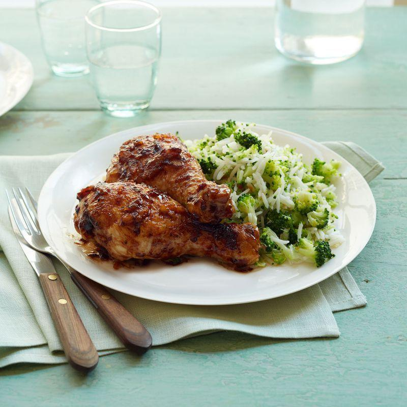 """<p>This dish is beyond simple, but that spicy orange glaze will make it seem like it took you hours. Bonus! Drumsticks are economical and quick-to-cook.</p><p><u><em><a href=""""https://www.womansday.com/food-recipes/food-drinks/recipes/a12522/zesty-orange-glazed-drumsticks-recipe-wdy0114/"""" rel=""""nofollow noopener"""" target=""""_blank"""" data-ylk=""""slk:Get the recipe for Zesty Orange-Glazed Drumsticks."""" class=""""link rapid-noclick-resp"""">Get the recipe for Zesty Orange-Glazed Drumsticks.</a> </em></u> </p>"""