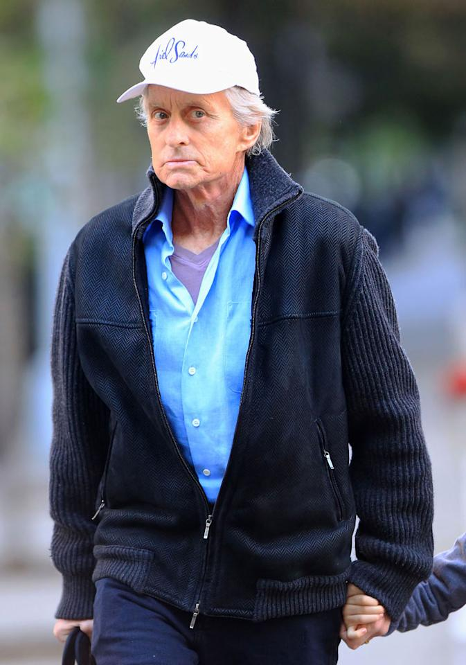 """<i>Star</i> magazine's cover story reports that Michael Douglas' cancer has taken """"a turn for the worse."""" According to the mag, while wife Catherine Zeta-Jones was abroad in her native Wales, """"She received a shocking call... And within hours, Catherine was rushing back to be by [Douglas'] side in NYC -- worried she might be heading home to say goodbye."""" To find out what a close Douglas friend confides about the actor's condition, log on to <a href=""""http://www.gossipcop.com/catherine-zeta-jones-goodbye-michael- douglas-cancer-wales/"""" target=""""new"""">Gossip Cop</a>. Jackson Lee/<a href=""""http://www.splashnewsonline.com"""" target=""""new"""">Splash News</a> - October 6, 2010"""