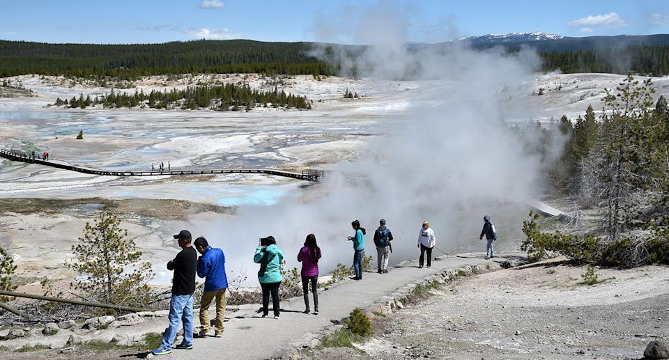 Tourists looking over the Norris Geyser Basin in Yellowstone National Park.