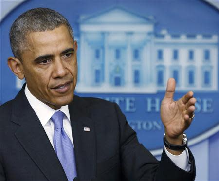 U.S. President Obama makes a statement to the press after meeting with Veteran Affairs Secretary Shinseki at the White House in Washington
