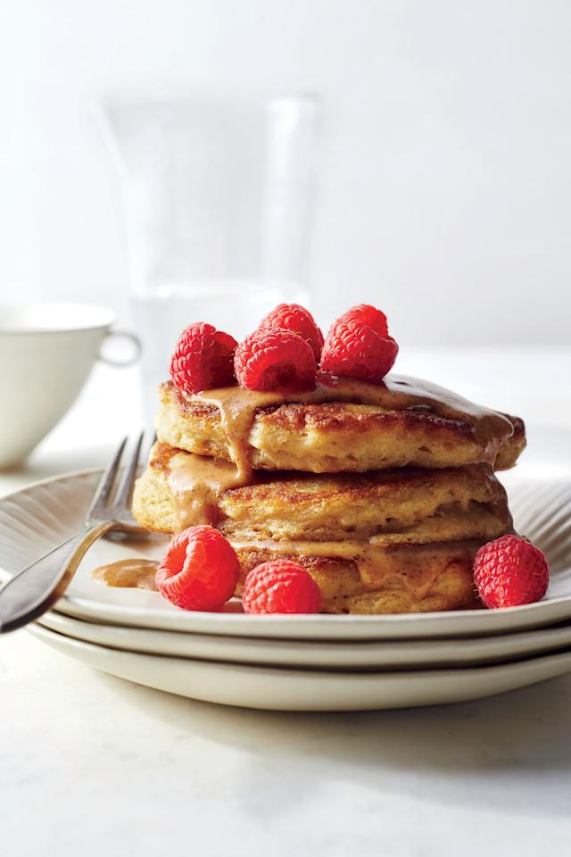 """<p>Hump Day is the perfect day for some <a rel=""""nofollow"""" href=""""http://www.cookinglight.com/food/recipe-finder/new-brinner-recipes"""">brinner</a>. These pancakes are wonderfully hearty, thanks to old-fashioned oats and white whole-wheat flour, yet their texture is still fluffy and light, with a beguiling creaminess in the middle. Instead of dousing this short stack with syrup, we opt instead for a nutty sauce of maple-sweetened almond butter—cutting about 27g added sugars from the typical pancake breakfast. (Feel free to sub any nut butter you have on hand). Soaking the oats first softens them and helps create that creamy interior texture. As they soak, you can make the almond butter sauce, measure out the other ingredients, and <a rel=""""nofollow"""" href=""""http://www.cookinglight.com/cooking-101/techniques/how-to-cook-bacon-in-the-oven"""">cook bacon in the oven</a> for the perfect side.</p> <p><a rel=""""nofollow"""" href=""""http://www.cookinglight.com/recipes/fluffiest-multigrain-pancakes-almond-butter-drizzle"""">View Recipe: Fluffiest Multigrain Pancakes with Almond Butter Drizzle</a></p>"""