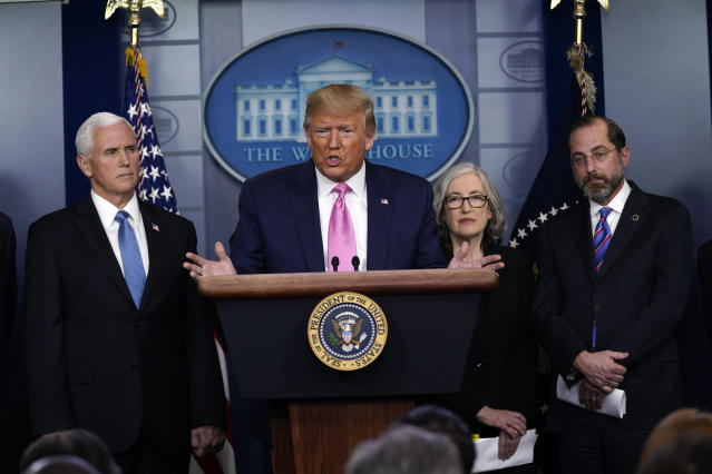Trump with members of the coronavirus task force, Feb. 26, 2020. (Evan Vucci/AP)
